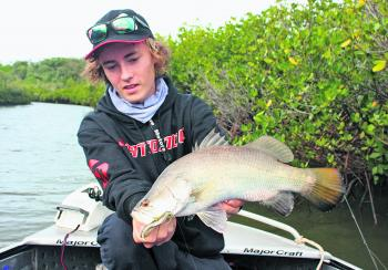"Connor Duffy has showed the author that skipping small plastics like the 3"" Atomic Prongs up the back of mangrove roots is highly effective, especially on species like barra, jacks and bream."