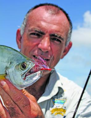 This queenfish is lip hooked but when the fly goes in deep, those teeth give the leader a real workout.