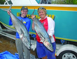 Good size mackerel like these two specimens should be seen near the 25-fathom line throughout May