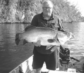 Mark Gustafson with a barra he caught near Gladstone.