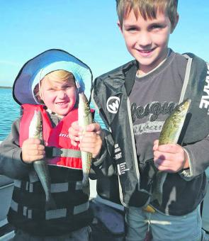 The author's sons with a few great whiting from McLoughlins.