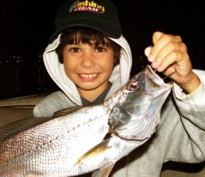 Your very first jewfish is always special, no matter how big it is. Here's the first from young Jason Earl, 11. If you are keen and put in the time you are in with a great chance this month – good numbers of jewies have been taken lately.