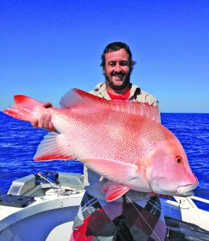 Shane Trainer was stoked with this big red emperor, caught on a big bait in deep water.