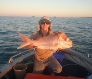 Early morning winter starts mean the chance of tangling with quality snapper like this are possible even from small tinnies. Photo courtesy of C Hassan.