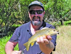 A lovely coloured brown trout caught in the Mt Beauty area recently on a black Strike Tiger nymph soft plastic.