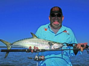 School mackerel can easily be taken on light spin gear. Try working the fast water around the islands.