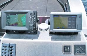 The author opted for the upgrade from analogue to digital engine gauges, which are easy to use and conveniently displayed on the Garmin GPS Map 750S unit situated on top of the console.
