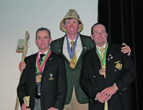 Gold, Silver and Bronze: Christopher Bassano from Australia, Cambell Baird from Northern Ireland and John Tyzak from England.