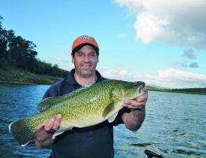 Kerry Ehrlich caught this Murray cod from Cooby Dam. The fish was holding close to the drop-off into the old creek bed.