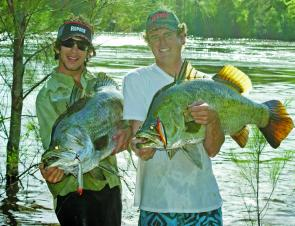 Daniel Grech and Jon Millard with a DH of 120cm barra on Rapala X-Walks from the Proserpine River below the dam wall.
