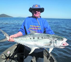 Colin Green with a chunky mid-sized queenfish caught jigging in deep water.