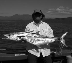 Col Upham shows a typical High Island Spanish mackerel captured recently during a busy fishing morning at this popular destination.