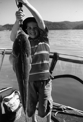 Jordan with his big flathead. It really was almost as big as Jordan.