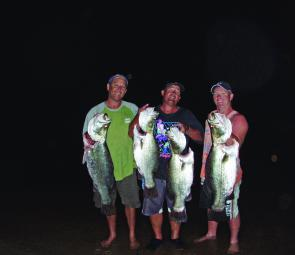 Tony, Mick and John with some full moon Monduran barra.