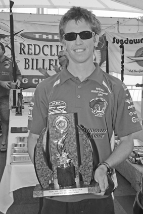 Alex Fenwick with his champion male angler trophy.