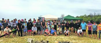 Competitors for the Topwater comp huddle up for a photo before the comp kick off.