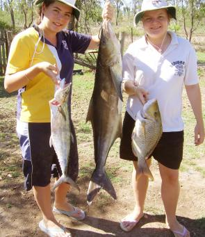 Kate and Emily Henkel caught a school mackerel, yellow sweetlip and cobia around the Keppels.