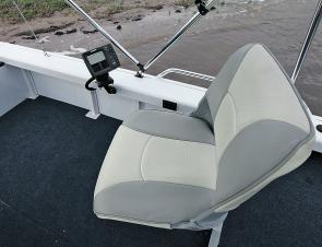 The Jabiru Pro comes with two fold up pedestal seats positioned on lower central deck area.