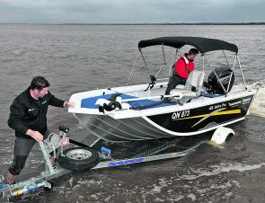 The test boat nestled easily back on to the Savage trailer – not surprising as unlike aftermarket trailers it was built especially to fit the boat.