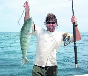 A solid green jobfish lured over the far northern outer reef.