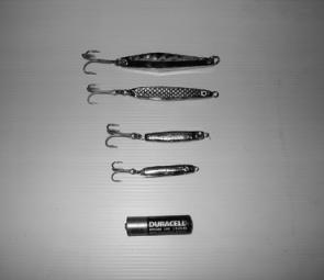 Raider and Laser lures for mackerel, bottom – 10 and 20g baitfish profiles for tuna.