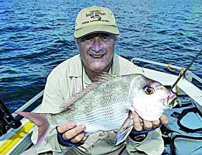 Allan Jarvis with the size of snapper that is common at this time of the year.