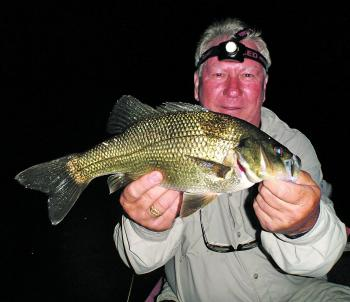 The author's old man with his PB bass on a night mission.