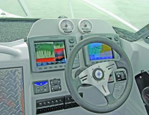 Two large Lowrance units dominate the Evolution's well set out dash area.