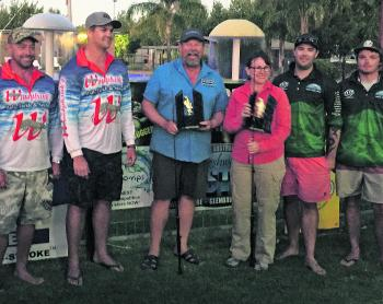 Winners are grinners! The three top scoring teams in this year's Australian Freshwater Masters collect their awards.