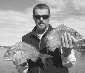 Geoff Brunsdon with two lovely Hastings River bream.