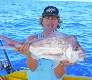 Ben Nothling with one of many quality snapper caught on a recent trip to the Hards off Noosa.