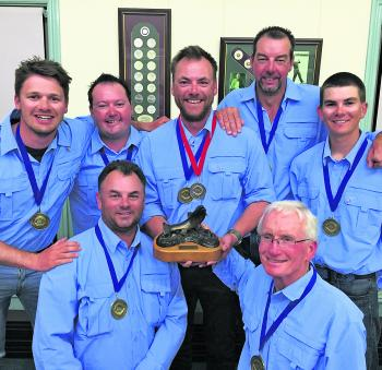 The winning team, Australia Gold. (Clockwise from top left) Tom Jarman, Lubin Pfeiffer, Craig Dawson, Brian Hughes, Team Captain Pat Kennedy and Team Manager Chris Dawson.