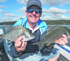 John from Fergo's Tackle World at Taren Point with some of the bream he and the author caught over the flats in Port Hacking.