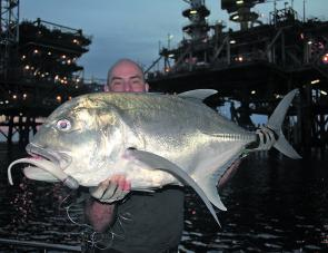My best GT for the trip was taken on a plastic fished close to an oil rig on PE4.