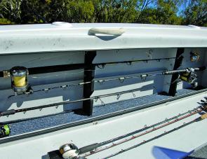 The Dragonfly's rod locker put to good use, with tackle fully protected from harm.