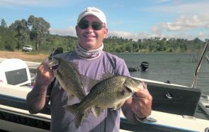 Dave Aseguinolaza of Orange used paddletail grubs to catch these Glenbawn bass in 40'.