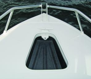 The 435 Bay Cruiser's roto-moulded anchor well is easily reached thanks to an opening windscreen.
