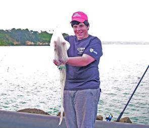 Young local Jack Hose with a nice calamari squid caught off the Lee Breakwater.