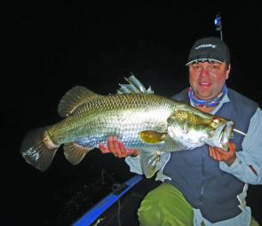 Jason Wilhelm from Team Shimano-Etec with one of the five barra he caught in the Awoonga 2x5 event.