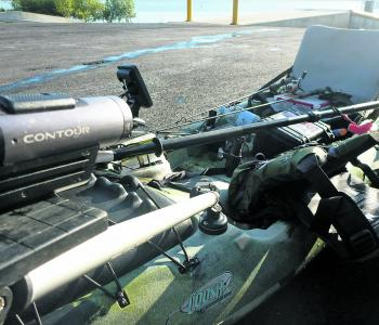 A Contour sports camera mounted on a Camera Boom 600 to capture all the hot fishing action.
