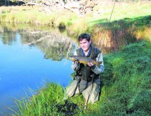 Small water and big fish – the author with a prime Ebor brown trout.