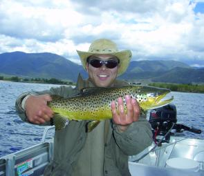Nick Fukuda with 5lb of Khancoban brown trout. Right now is one of the prime fishing periods in the region.