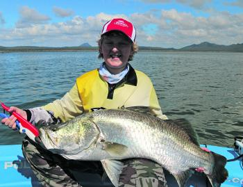 Lake Proserpine's big weed point that extends into the basin continues to produce plenty of barra over a metre long. Blake Ehrlich caught this one tight against the weed bed on a soft plastic.