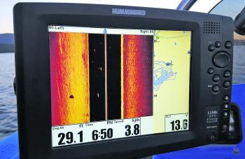 Barra can be located on side image by extending the range in deeper water. On smaller units they will make smaller shadows. On my bigger Humminbird 1198 you can clearly see the barra shadow on the left with the boat moving at 3.8km/h. The range has been e