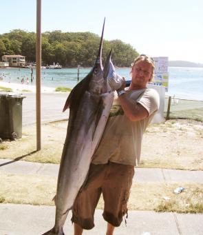 Steve Duffy's first marlin, caught just wide of the FAD.