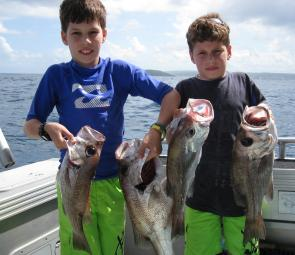 These two nine-year-olds were privy to one of the many great sessions on pearl perch lately.