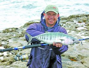 Ray Smith found some bonito on the chew recently and caught this one on a white 65g Sea Rock lure.
