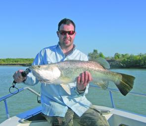Rod had a great day on the water and caught his PB barra at 89cm.