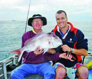 Harvey Graham, left, and son Dale with a quality Korora snapper.