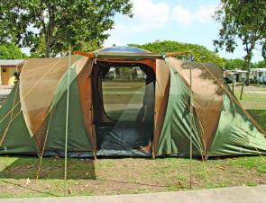 With the fly on and the guy ropes set up, the Chalet 9CV is a mighty tent that will provide years of great service.